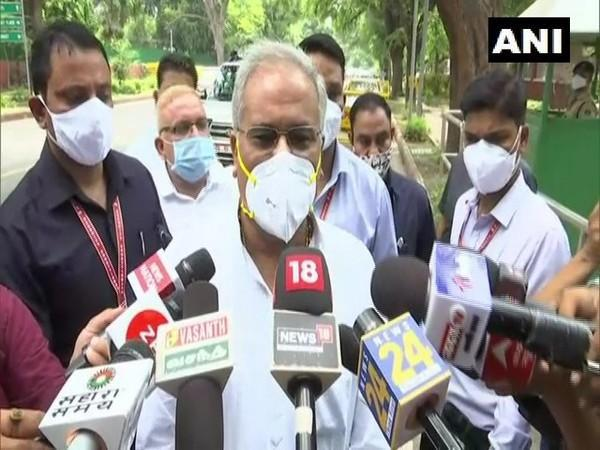 Chhattisgarh Chief Minister Bhupesh Baghel speaking to reporters after the meeting. (Photo/ANI)