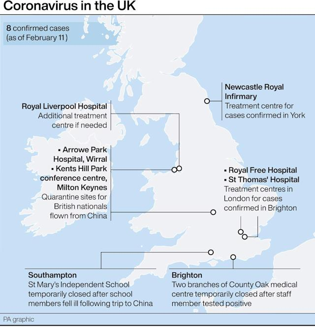 Confirmed coronavirus cases in the UK and where quarantines and treatment centres have been set up. (PA Graphics)