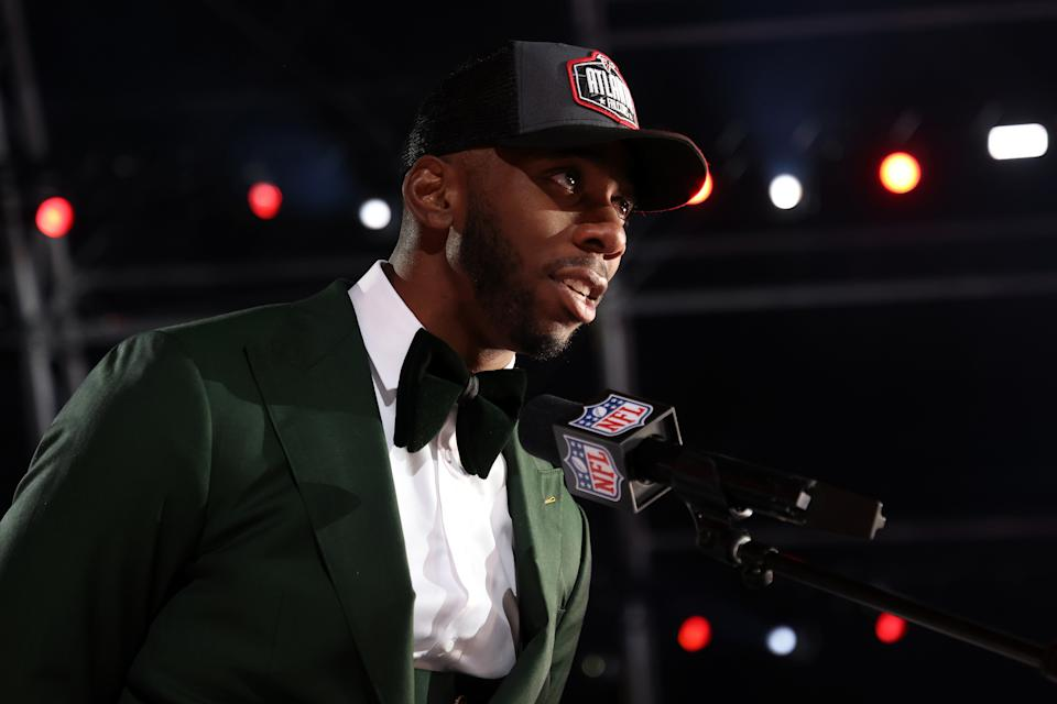 CLEVELAND, OHIO - APRIL 29: Kyle Pitts speaks onstage after being selected fourth by the Atlanta Falcons during round one of the 2021 NFL Draft at the Great Lakes Science Center on April 29, 2021 in Cleveland, Ohio. (Photo by Gregory Shamus/Getty Images)