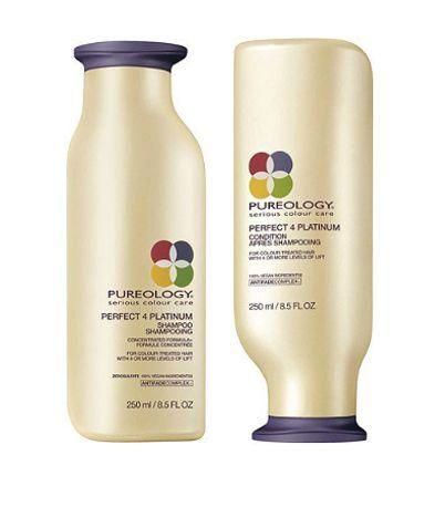 "Pureology's Perfect 4 Platinum line is a sulfate- and salt-free strengthening formula that cleans, moisturizes and detangles hair without stripping color or further damaging your blonde locks. Plus, it smells amazing and leaves your strands feeling revived and softer than ever. Shop the <a href=""http://shop.nordstrom.com/s/aveda-blue-malva-color-conditioner/3411862?origin=coordinating-3411862-0-3-PDP_1_AA1-recbot-also_viewed2&recs_placement=PDP_1_AA1&recs_strategy=also_viewed2&recs_source=recbot&recs_page_type=product"" target=""_blank"">shampoo</a> and <a href=""http://www.ulta.com/perfect-4-platinum-conditioner?productId=xlsImpprod3460179"" target=""_blank"">conditioner</a>."
