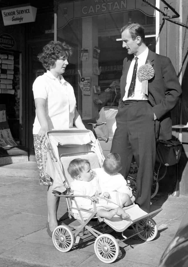 Ted Dexter, out canvassing in the south-east Cardiff constituency, was a Conservative Party candidate in the 1964 General Election