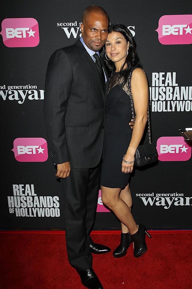 "Chris Spencer and wife Vanessa Rodriguez arrive at the screenings of BET Networks' ""Real Husbands of Hollywood"" and ""Second Generation Wayans"" held at the Regal Cinemas L.A. Live on January 8, 2013 in Los Angeles, California."