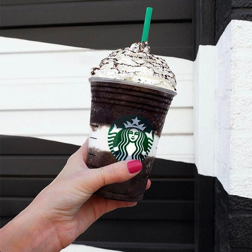 <p>If you've ever had a Girl Scouts Thin Mint, then you already know what this Frappuccino tastes like. Dark cocoa and mint are blended with coffee, milk, and ice. There's a layer of mint sugar crystals and whipped cream in the middle, and it's topped with more whipped cream and a dusting of dark cocoa. Chocolate addicts will fall in love!</p>