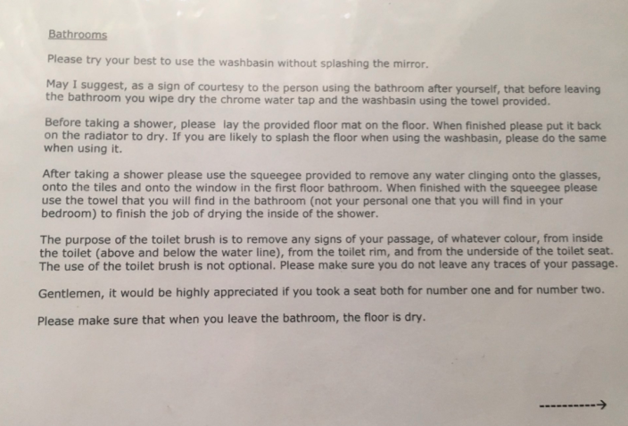 The bizarre guidelines to using the bathroom were posted to Twitter. Photo: Twitter/ianhickton