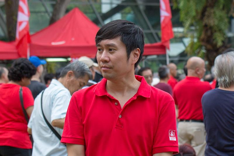 Activist Jolovan Wham seen at the Singapore Democratic Party's pre-election rally at Hong Lim Park on 19 October 2019. (PHOTO: Dhany Osman / Yahoo News Singapore)