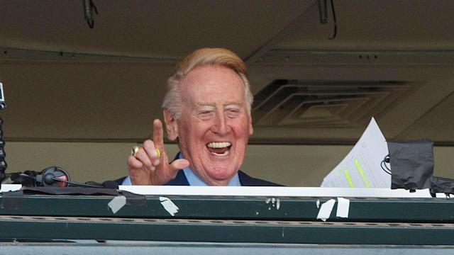 The retired voice of the Dodgers for 67 years says he may or may not be busy April 3.