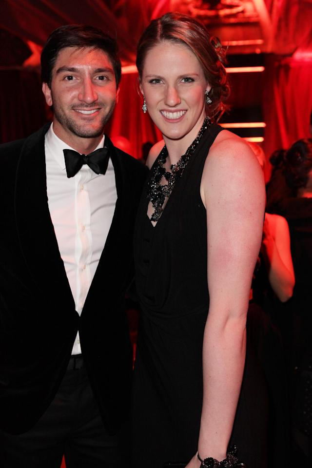 BEVERLY HILLS, CA - JANUARY 13: Figure skater Evan Lysacek (L) attends the The Weinstein Company's 2013 Golden Globe Awards after party presented by Chopard, HP, Laura Mercier, Lexus, Marie Claire, and Yucaipa Films held at The Old Trader Vic's at The Beverly Hilton Hotel on January 13, 2013 in Beverly Hills, California. (Photo by Mike Windle/Getty Images for TWC)