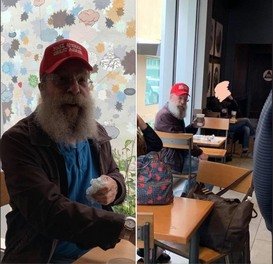 A woman named Rebecca Parker Mankey admitted to harassing an elder man wearing a MAGA hat in Starbucks. (Screenshot: Parker Mankey/Facebook; Right Hook USA/Twitter)