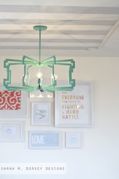 """<div class=""""caption-credit""""> Photo by: Sarah M. Dorsey Designs</div><b>Statement pendant</b> <br> I don't even know where to start with the amazingness that is this statement pendant. You simply have to see for yourself how a light fixture this incredible was created from egg crate diffusers. Mind = blown. <br> <i>Get the full tutorial at <a href=""""http://sarahmdorseydesigns.blogspot.com/2013/04/from-fluorescent-diffuser-to-statement.html"""" rel=""""nofollow noopener"""" target=""""_blank"""" data-ylk=""""slk:Sarah M. Dorsey Designs"""" class=""""link rapid-noclick-resp"""">Sarah M. Dorsey Designs</a></i>"""