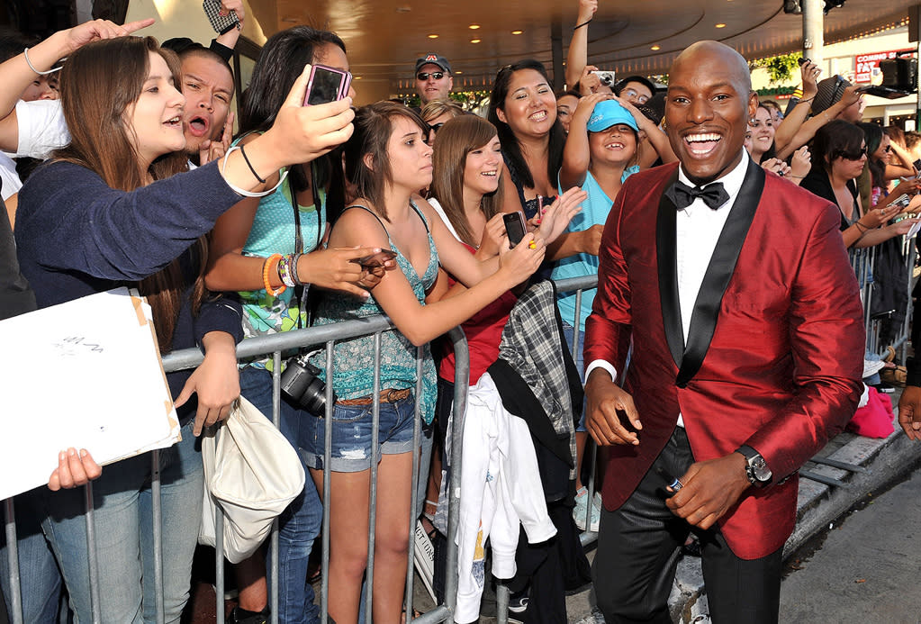"""<a href=""""http://movies.yahoo.com/movie/contributor/1804500453"""">Tyrese Gibson</a> at the Los Angeles premiere of <a href=""""http://movies.yahoo.com/movie/1809943432/info"""">Transformers: Revenge of the Fallen</a> - 06/22/2009"""
