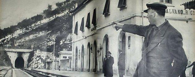 The Balvano railway station, with the station master pointing at the direction where the train left