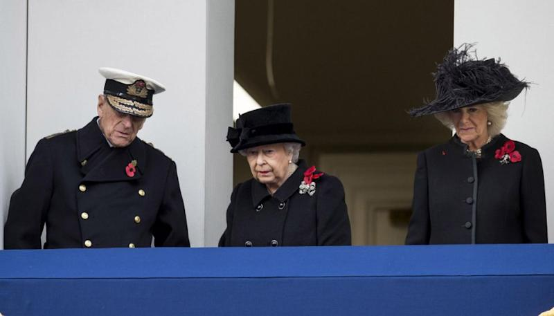 The Queen watched from the balcony with Prince Philip and Camilla. Photo: Getty Images