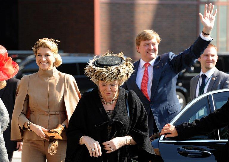 "Queen Beatrix of the Netherlands (C), Dutch Crown Princess Maxima (L), and Dutch Crown Prince Willem Alexander (R) are pictured in Essen on April 15, 2011. The queen, who is to turn 75 on Thursday, said her birthday and the 200-year anniversary of the monarchy in 2013 ""were the reason for me to step down"""