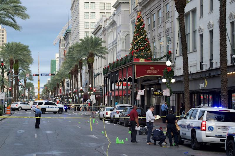 New Orleans police investigate the scene of a shooting on Dec. 1, 2019, on the edge of the city's famed French Quarter.