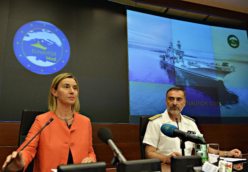 EU foreign affairs chief Federica Mogherini gives a press conference to present the second phase of Operational Command of EUNAVFOR MED, at the EU headquarters in Rome on September 24, 2015 (AFP Photo/Andreas Solaro)