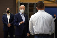Democratic presidential candidate former Vice President Joe Biden tours a union training center in Hermantown, Minn., Friday, Sept. 18, 2020. (AP Photo/Carolyn Kaster)