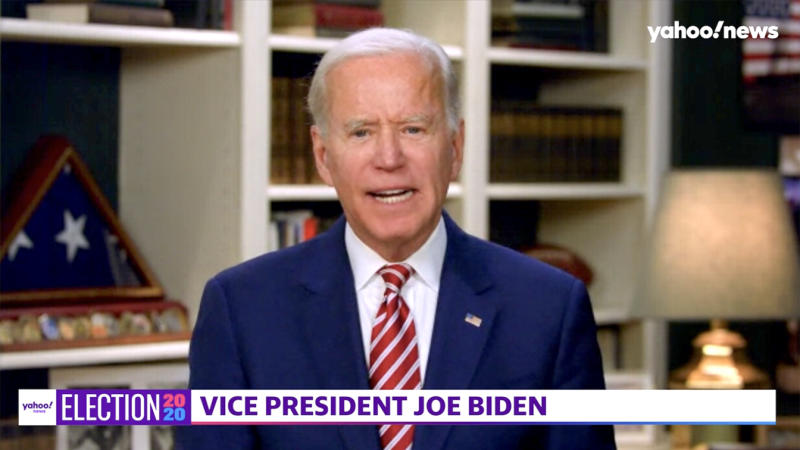 Joe Biden during a Yahoo News Town Hall with chef José Andrés. (Screengrab via Yahoo News)