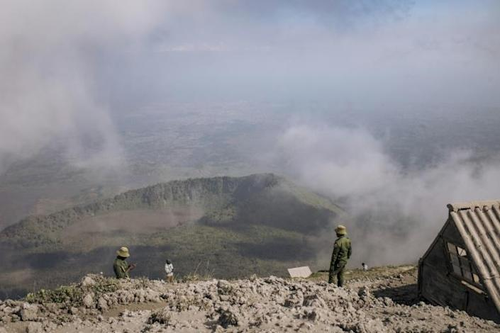 The team spent the night in small visitors' huts before descending. Tourists access to the volcano has been banned since the May 22-23 eruption