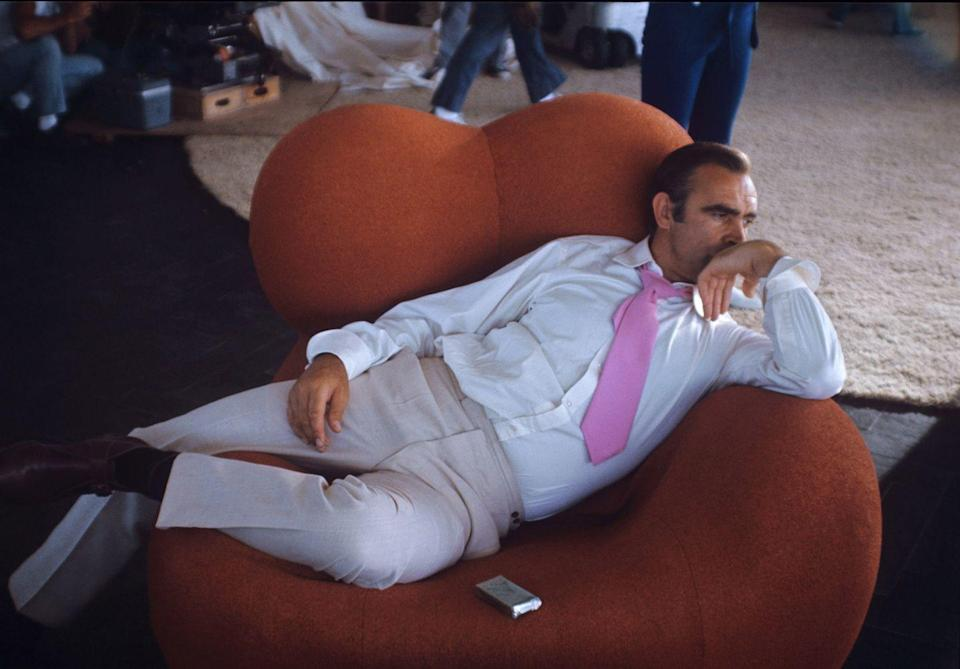 <p>Relaxing again on the set of Diamonds Are Forever. </p>