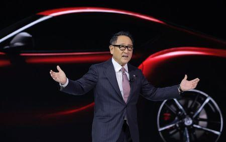 FILE PHOTO: Toyota's Toyoda speaks at the North American International Auto Show in Detroit, Michigan