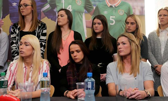 "<span class=""element-image__caption"">Captain Emma Byrne, bottom right, has alleged that some players have been forced to give up playing for their country. </span> <span class=""element-image__credit"">Photograph: Farmer/Inpho/Rex/Shutterstock</span>"