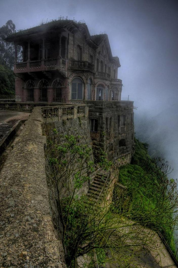 <p>Opened in 1928, this Colombian hotel catered to tourists visiting the nearby waterfall. It was closed down in the early 90s, and today stands abandoned. Many people believe it to be haunted. </p>