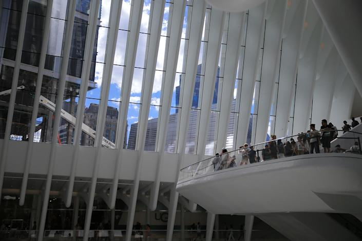 <p>People take photos as they visit the Oculus mall at World Trade Center on Monday, August 22, 2016. (Gordon Donovan/Yahoo News) </p>
