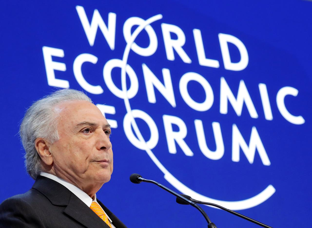 Brazil's President Michel Temer attends the World Economic Forum (WEF) annual meeting in Davos, Switzerland January 24, 2018. REUTERS/Denis Balibouse