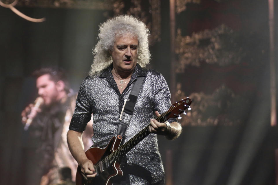 """Brian May of Queen performs live on stage during the opening of Queen and Adam Lambert's  """"The Rhapsody Tour"""" at The Forum on Friday, July 19, 2019, in Inglewood, Calif. (Photo by Willy Sanjuan/Invision/AP)"""