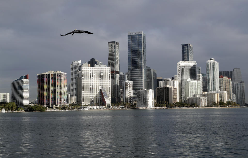 In this Feb. 2, 2018, photo, a pelican flies over Biscayne Bay with the skyline of Miami on the horizon. Florida is now home to two metro areas with among the highest concentrations of gay and lesbian coupled households in the U.S., according to a new report released by the U.S. Census Bureau. Orlando and Miami had the fourth and sixth highest concentrations of same sex coupled households in the U.S. (AP Photo/Lynne Sladky)