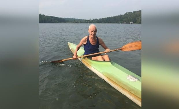Alan McCleery, 92, is seen here paddling in an old training kayak for the first time since fracturing his hip early in 2020. The former Olympian overcame both the injury and mobility issues and returned this week to his favourite sport. (Submitted by Gail Gilbert - image credit)