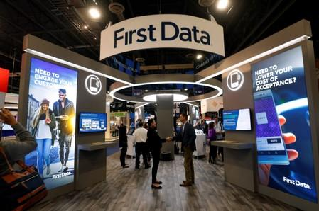 The First Data booth is shown on the exhibit hall floor during the Money 20/20 conference in Las Vegas