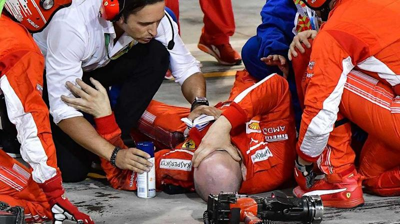 The pit lane mechanic broke his leg after being run over by Raikkonen. Pic: Getty