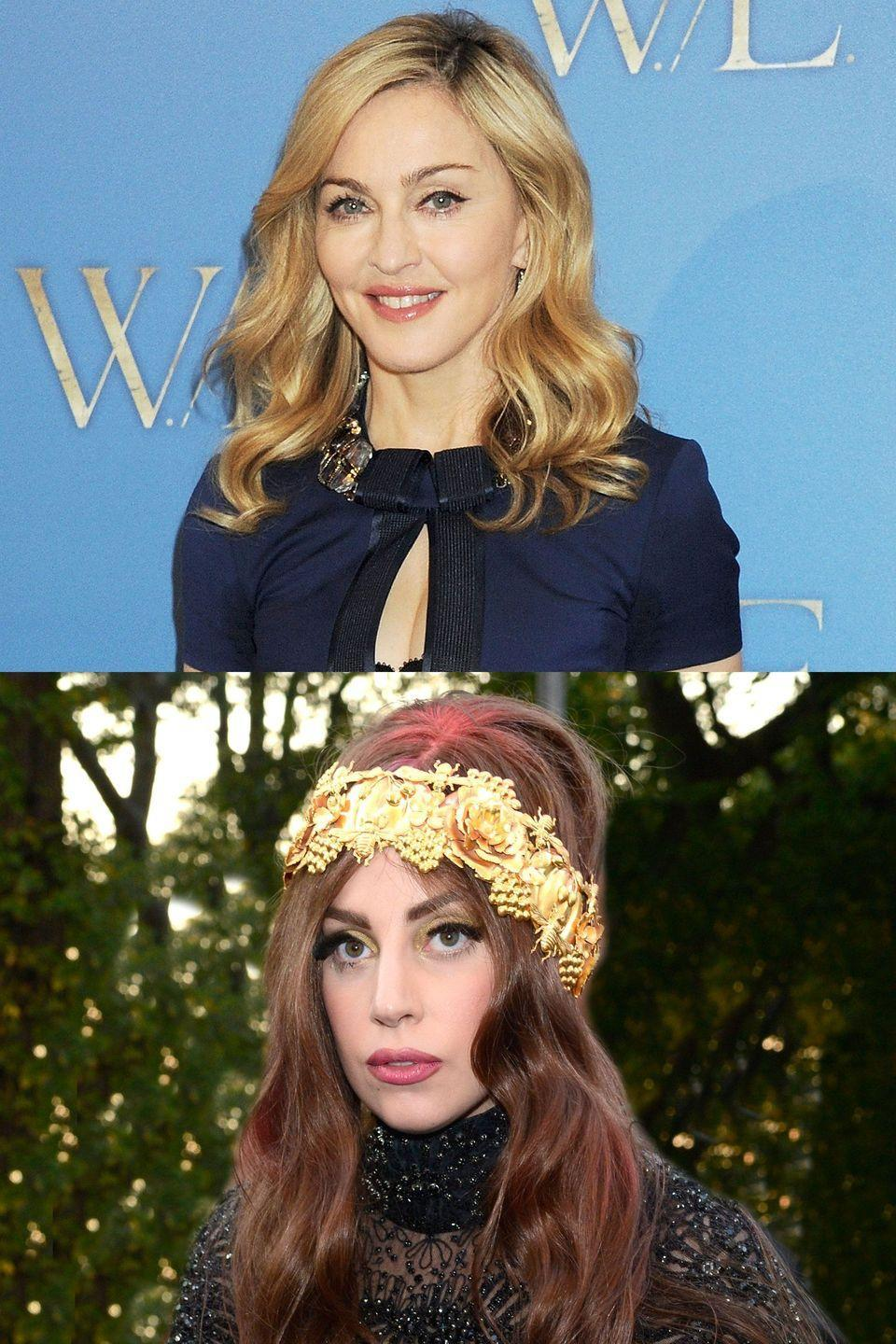 "<p>Gaga began dodging Madonna comparisons at virtually the very start of her career—the two even mocked the ingenue vs. aging star trope <a href=""https://vimeo.com/187050743"" rel=""nofollow noopener"" target=""_blank"" data-ylk=""slk:in a (terrible) sketch"" class=""link rapid-noclick-resp"">in a (terrible) sketch</a> on <em>Saturday Night Live</em> in 2009. But when Gaga's 2011 hit ""Born This Way"" was <a href=""http://www.hollywoodreporter.com/news/lady-gagas-born-way-criticized-98922"" rel=""nofollow noopener"" target=""_blank"" data-ylk=""slk:widely compared"" class=""link rapid-noclick-resp"">widely compared</a> to Madge's ""Express Yourself,"" Madonna decided to take a stand. In 2012, she fully embraced the feud, famously <a href=""http://www.hollywoodreporter.com/news/madonna-lady-gaga-born-this-way-281631"" rel=""nofollow noopener"" target=""_blank"" data-ylk=""slk:telling ABC News"" class=""link rapid-noclick-resp"">telling ABC News</a> that the song was ""reductive."" Later that year, Madonna grabbed notice for a mash-up of the two songs on her MDNA tour, and Gaga fired back without naming names at a New Zealand concert. ""It sometimes makes people feel better about themselves to put other people down or make fun of them or maybe make a mockery of their work, and that doesn't make me feel good at all,"" <a href=""http://www.hollywoodreporter.com/news/lady-gaga-madonna-born-this-way-335943"" rel=""nofollow noopener"" target=""_blank"" data-ylk=""slk:she said"" class=""link rapid-noclick-resp"">she said</a>. ""That just makes me feel like I'm not being a good human being.""</p>"
