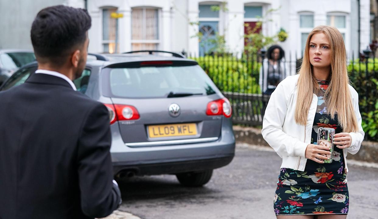 WARNING: Embargoed for publication until 00:00:01 on 17/08/2021 - Programme Name: EastEnders - July-September 2021 - TX: 23/08/2021 - Episode: EastEnders - July-September 2021 - 6329 (No. 6329) - Picture Shows: ***EMBARGOED TILL TUESDAY 17TH AUGUST 2021*** Vinny Panesar (SHIV JALOTA), Tiffany Butcher (MAISIE SMITH) - (C) BBC - Photographer: Kieron McCarron/Jack Barnes