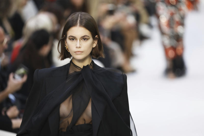 Model Kaia Gerber wears a creation as part of the Valentino Ready To Wear Spring-Summer 2020 collection, unveiled during the fashion week, in Paris, Sunday, Sept. 29, 2019. (Photo by Vianney Le Caer/Invision/AP)