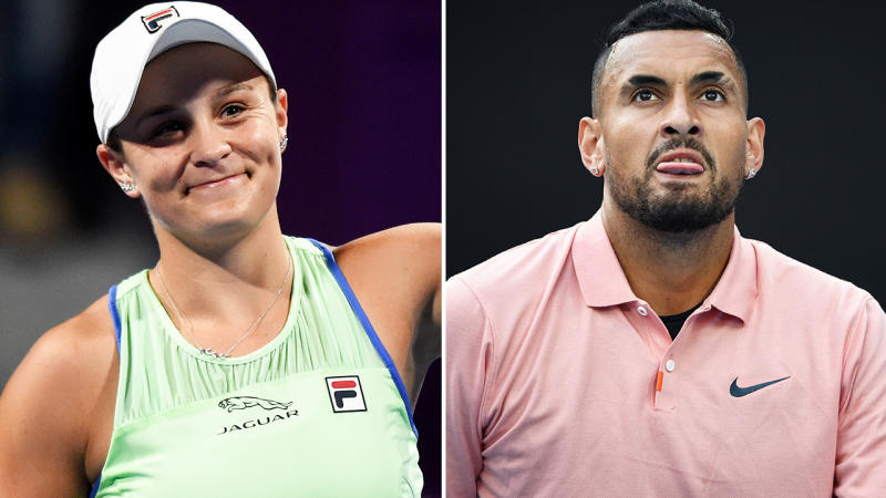 Ash Barty and Nick Kyrgios, pictured here in action on the tennis court.