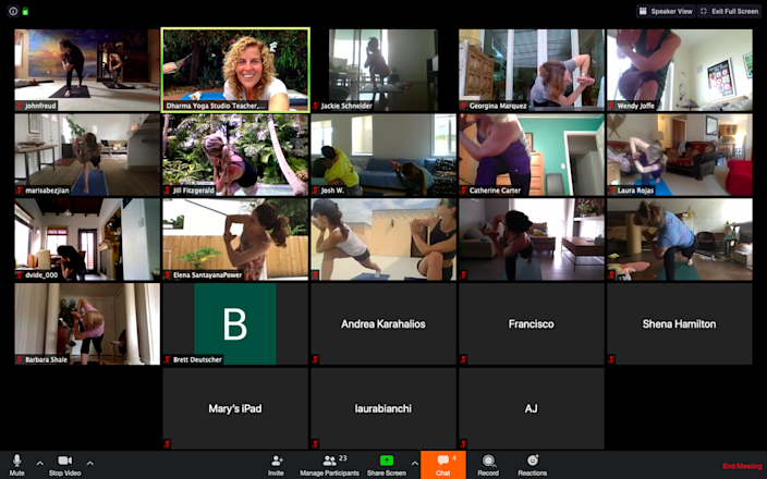 In this Zoom meeting screenshot, Natalie Morales teaches a yoga class after her Dharma Studio moved all programs online in mid-March.