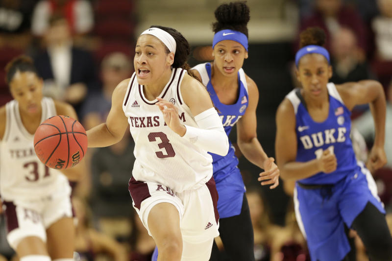 Texas A&M guard Chennedy Carter (3) breaks down court for a layup against Duke during an NCAA women's basketball game on Sunday, Nov. 10, 2019, in College Station, Texas. (AP Photo/Sam Craft)