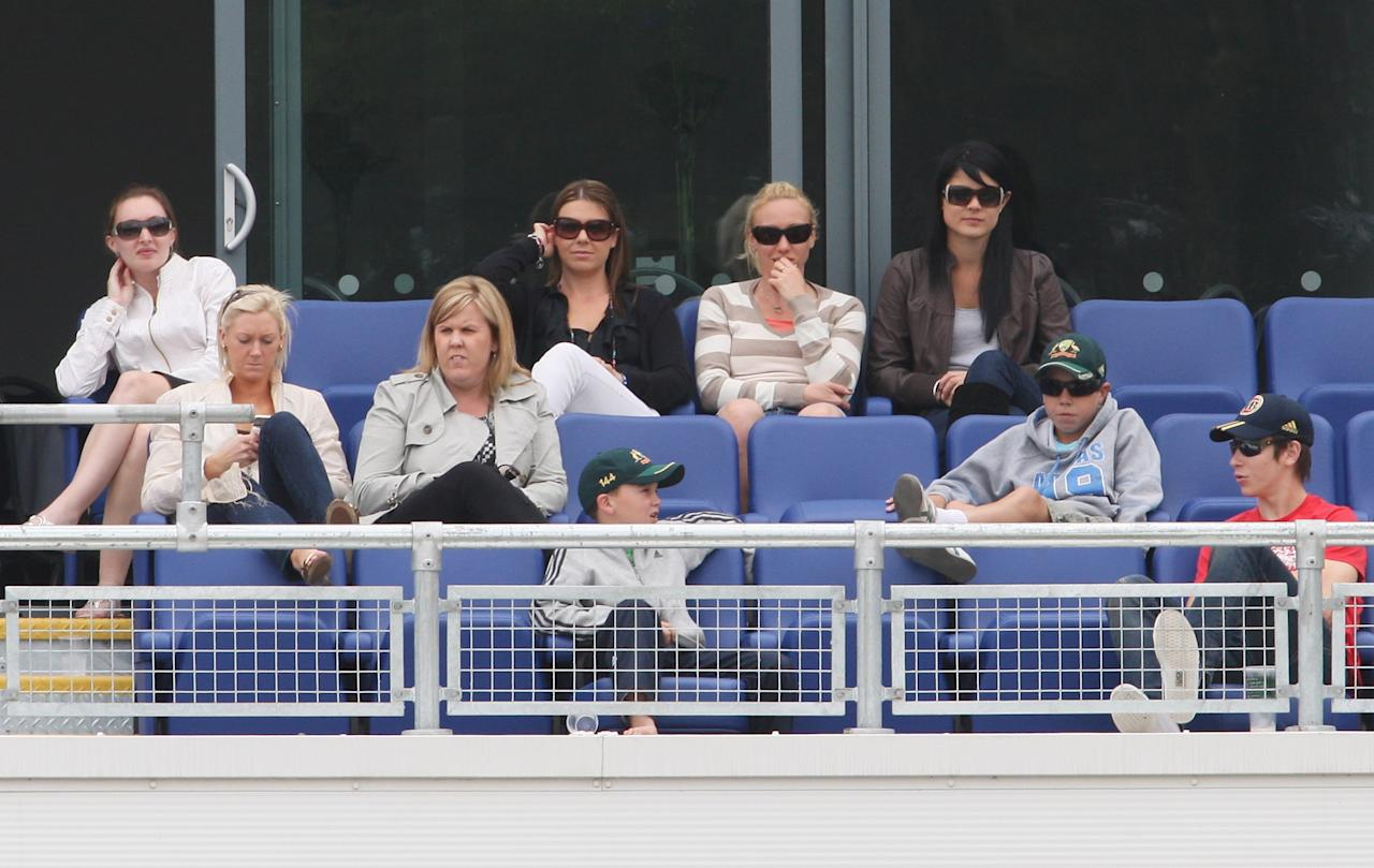 CARDIFF, WALES - JULY 10: Jessica Bratich (back row on right), girlfriend of Mitchell Johnson of Australia watches during day three of the npower 1st Ashes Test Match between England and Australia at the SWALEC Stadium on July 10, 2009 in Cardiff, Wales.  (Photo by Hamish Blair/Getty Images)