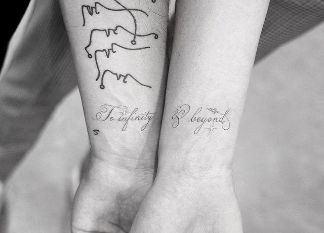 """<p>It's never a bad idea to take a peek at celebrity couple tattoos when looking for inspo. This cute tattoo from <a href=""""https://www.cosmopolitan.com/entertainment/celebs/a13027596/joe-jonas-sophie-turner-relationship-timeline/"""" rel=""""nofollow noopener"""" target=""""_blank"""" data-ylk=""""slk:Joe Jonas and Sophie Turner"""" class=""""link rapid-noclick-resp"""">Joe Jonas and Sophie Turner</a>—which says """"to infinity and beyond""""—is an excellent choice IMO.</p><p><a href=""""https://www.instagram.com/p/Boo5h1tAHYb/?utm_source=ig_embed"""" rel=""""nofollow noopener"""" target=""""_blank"""" data-ylk=""""slk:See the original post on Instagram"""" class=""""link rapid-noclick-resp"""">See the original post on Instagram</a></p>"""