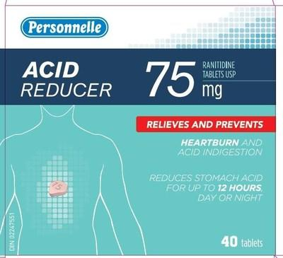 Acid Reducer (ranitidine) sold under the brand name Personnelle (CNW Group/Health Canada)