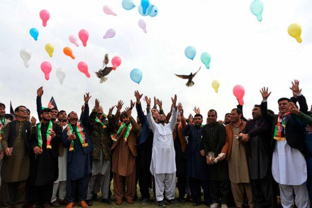 PHOTO: Youth release balloons and pigeons as they celebrate the reduction in violence, in Jalalabad, Afghanistan, Feb. 28, 2020. (Noorullah Shirzada/AFP via Getty Images)