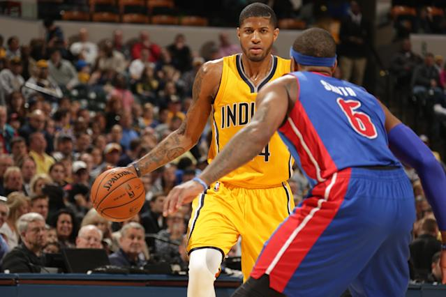 INDIANAPOLIS - APRIL 2: Paul George #24 of the Indiana Pacers handles the ball against the Detroit Pistons at Bankers Life Fieldhouse on April 2, 2014 in Indianapolis, Indiana. (Photo by Ron Hoskins/NBAE via Getty Images)