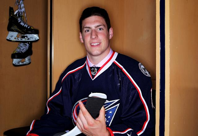 Pierre-Luc Dubois poses for a photo after being selected third overall by the Columbus Blue Jackets in round one, during the 2016 NHL Draft, in Buffalo, New York, on June 24 (AFP Photo/Jeffrey T. Barnes)
