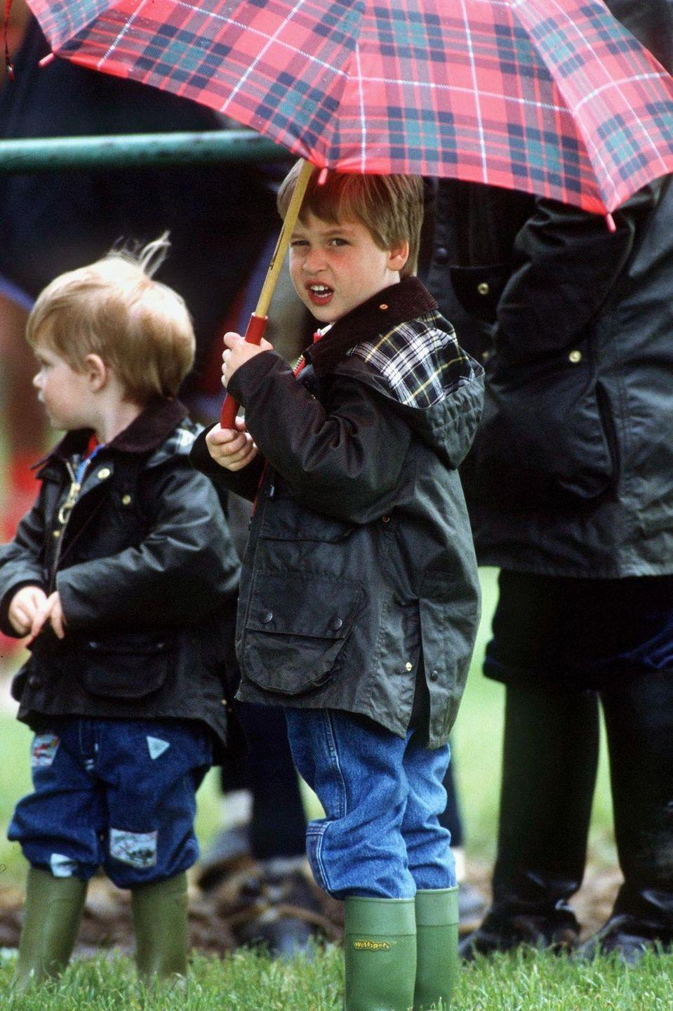 <p>A young Prince William shields himself and his brother during a polo match.<br></p>
