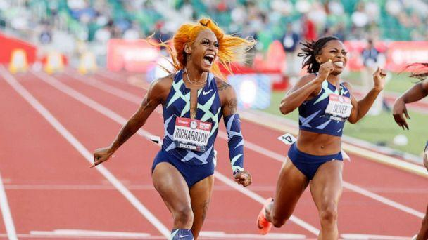 PHOTO: Sha'Carri Richardson celebrates winning the Women's 100 Meter final on day 2 of the 2020 U.S. Olympic Track & Field Team Trials at Hayward Field on June 19, 2021, in Eugene, Ore. (Steph Chambers/Getty Images)