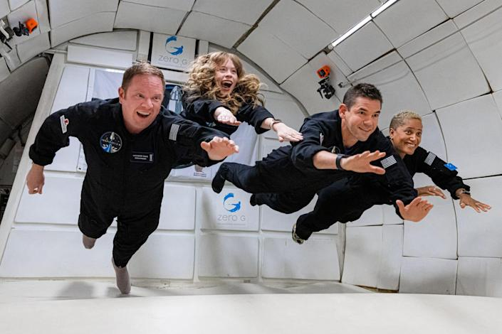 Inspiration4 mission to space (L to R): Chris Sembroski, Hayley Arceneaux, Jared Isaacman and Dr. Sian Proctor.