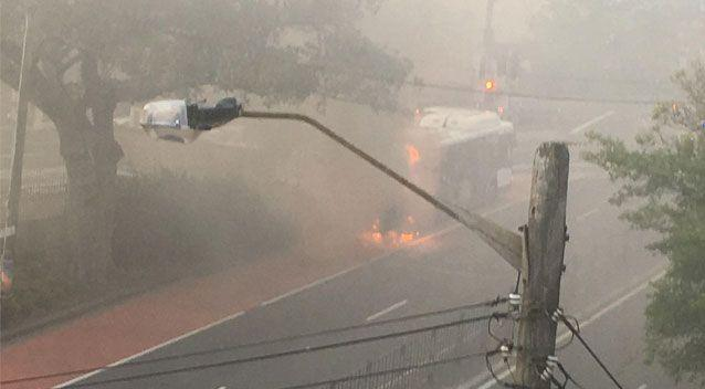 A bus has dramatically caught fire in central Sydney. Source: Supplied