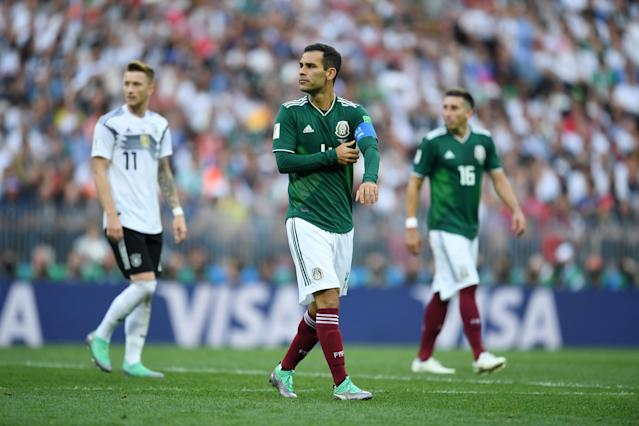 Rafa Marquez steps onto the field as a substitute in Mexico's win over Germany (Getty).